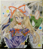 色紙絵で紫さん