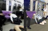 電車でガチ寝するおっさん×女子高生:比較画像