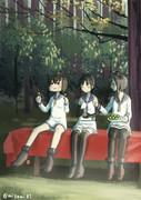 茶屋でお団子を食べる三人組