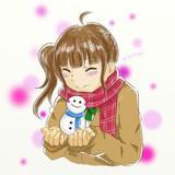 少女ちゃんと雪だるまくん