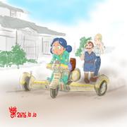 オフロード三輪車「きゅい」に乗るスンちゃん