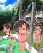 ちっちゃい子たちの水遊び