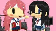 お菓子を食べる二人