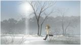風景 散歩、連作 雪歩駆ける