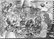 2B鉛筆で結月ゆかり描いてみた【その37】+弦巻マキ+琴葉茜+琴葉葵