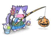 釣りを堪能する曙ネコ