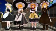 4姉妹のMMDモデルがそろったということで記念撮影するUDK姉妹.exe