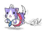 散歩するベンジャミン提督と酒匂ネコ