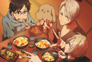 YURI and VICTOR with KATSUDON!!!
