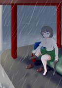 雪に濡れた女の子