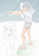 寒中稽古の女の子