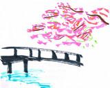 結構前に描いた葉付きの桜と橋