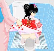 七五三 in 和式トイレ