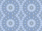 シンメトリー画像(青い床材とマンホール)