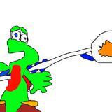 ヘッドホンちゃんのスクイックリンをヨッシーの腹に刺した結果