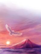 フクロウと赤富士