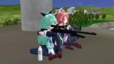 山風ちゃんと江風ちゃんに某銃器プラモのパケ絵を再現してもらった