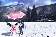 お嬢様の雪遊び