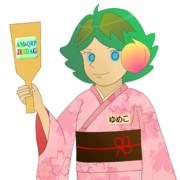 JR8DAGのAM & QRP ホームページの公式イメージキャラクターのゆめこ(着物)