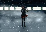 寒波に佇む少女