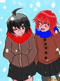 雪の日のJK二人