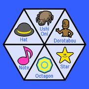 帽子、牛鬼、泥田坊、星、八角形、音符