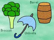 ブロッコリー、傘、樽