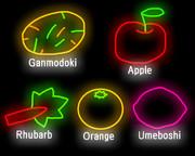 がんもどき、リンゴ、ルバーブ、オレンジ、梅干し