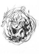 孫悟空を筆ペンで描いてみた