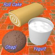 ロールケーキ、おはぎ、ヨーグルト