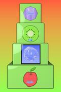塔、八角形、キウイ、氷、リンゴ