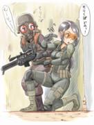 戦場の森久保と軍曹