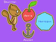 リス、リンゴ、イカリ、七角形