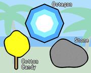 ハワイ (八角形、綿菓子、石)
