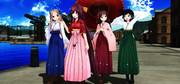 散歩中の神風型姉妹