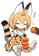 寝てるサーバルちゃんの手にみかんを積む