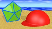 ゴボウ (五角形、帽子、海)