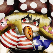 振り向きざまにアメリカンドッグに襲われるクラウンピース