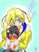 【オリキャラ】ちっちゃくなった幼馴染を抱き上げるシスちゃん