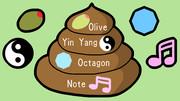 うんち、オリーブ、陰陽、八角形、音符