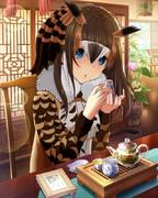【習作】ワシミミズク(助手)×鷺沢文香さん【けものフレンズ×モバマス】