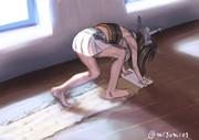 雑巾で床を削ってゆく長門