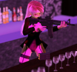 バニーガールと自動小銃
