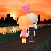 夕日を眺める恋人