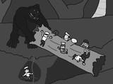 キング・コング(1933)丸太橋の襲撃シーン(モノクロ)