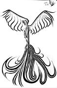 トライバル 孔雀飛行図