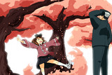桜並木のなかを