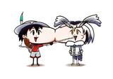 頬を寄せ合ってかばんちゃんが博士にカレーをあーんしてあげてる絵