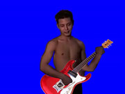 ギターを手にするKMR