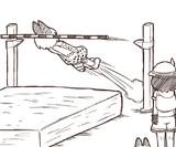 かばんちゃんに走り高跳びを教わるサーバルちゃん
